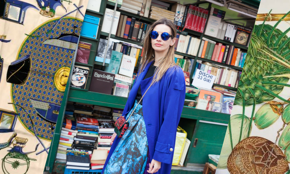 2c164e8c272 Image of woman in book store wearing vintage designer clothing