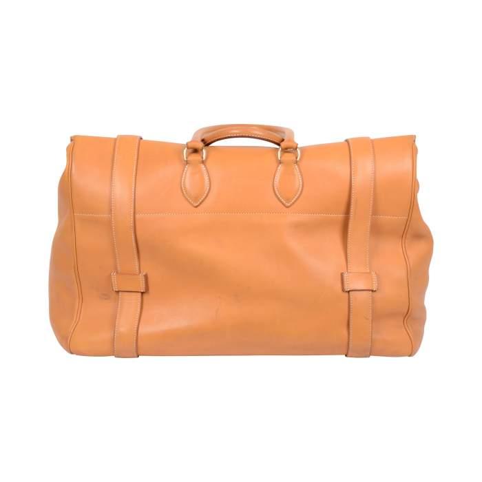 """Vintage Leather gold """"Drag"""" travel Bag -2"""