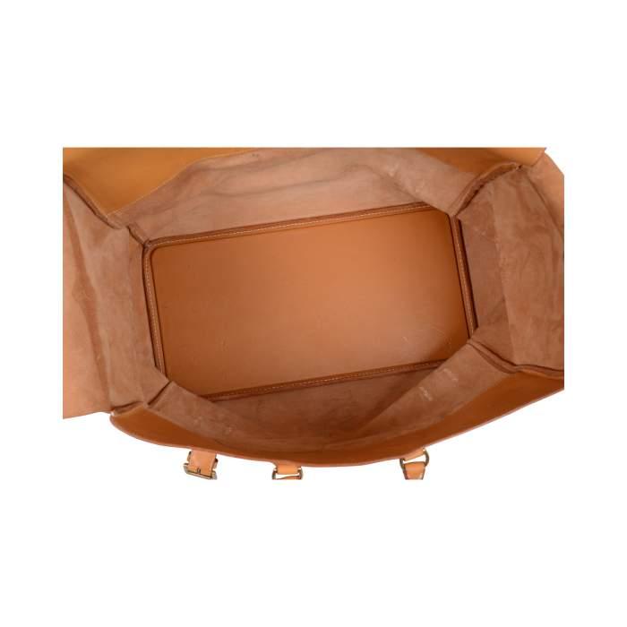 """Vintage Leather gold """"Drag"""" travel Bag -10"""