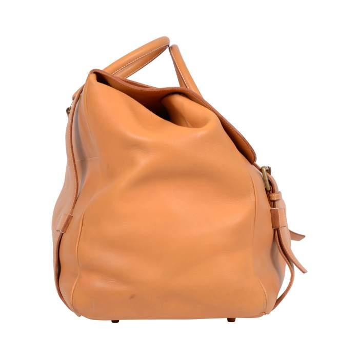 """Vintage Leather gold """"Drag"""" travel Bag -6"""