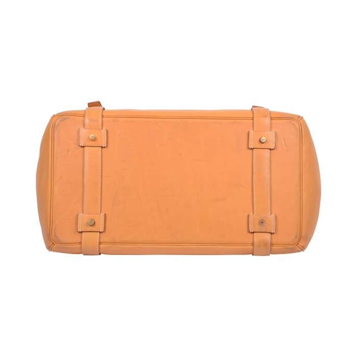 """Vintage Leather gold """"Drag"""" travel Bag -4"""