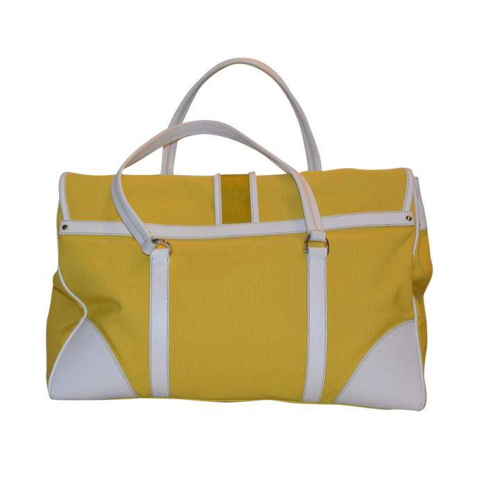 Yellow canvas and white leather Bag-2