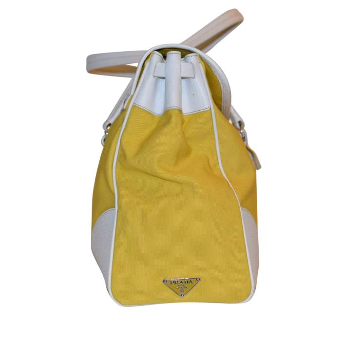 Yellow canvas and white leather Bag-6