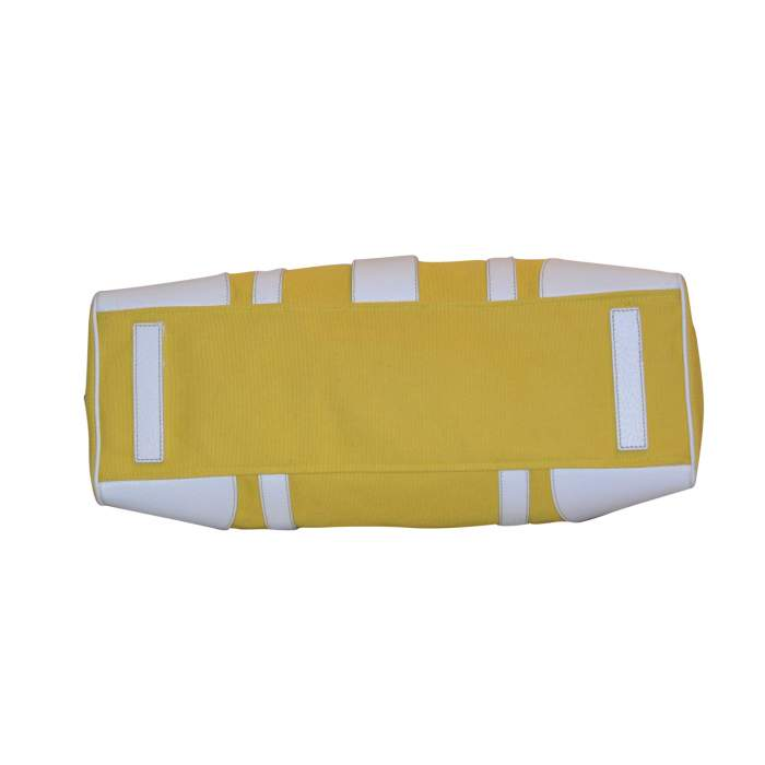 Yellow canvas and white leather Bag-8