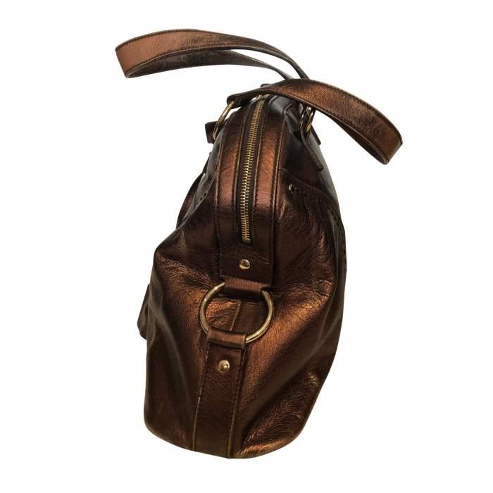Large bronze shiny leather Bag-4