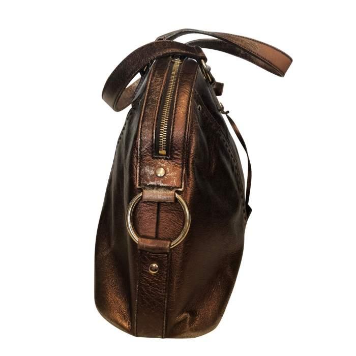 Large bronze shiny leather Bag-6