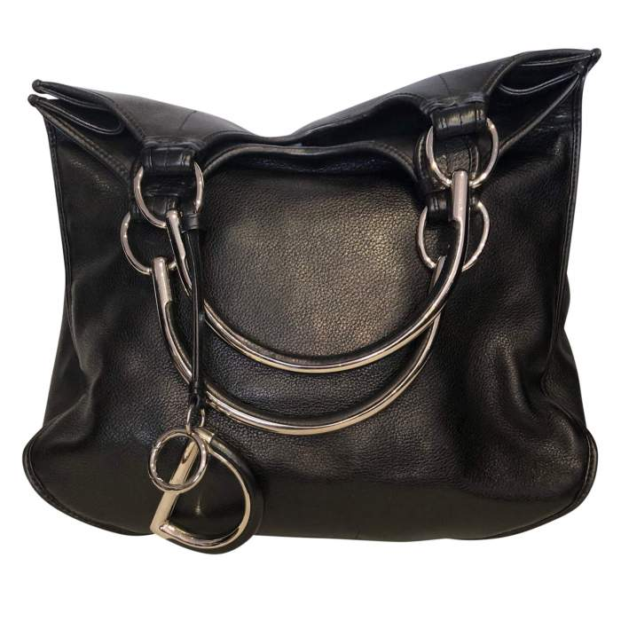 Black grained leather Bag-2