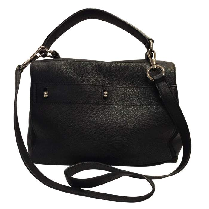 Black leather hand bag-2