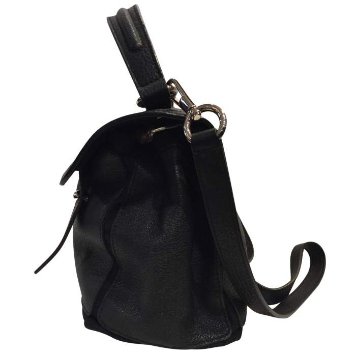 Black leather hand bag-4