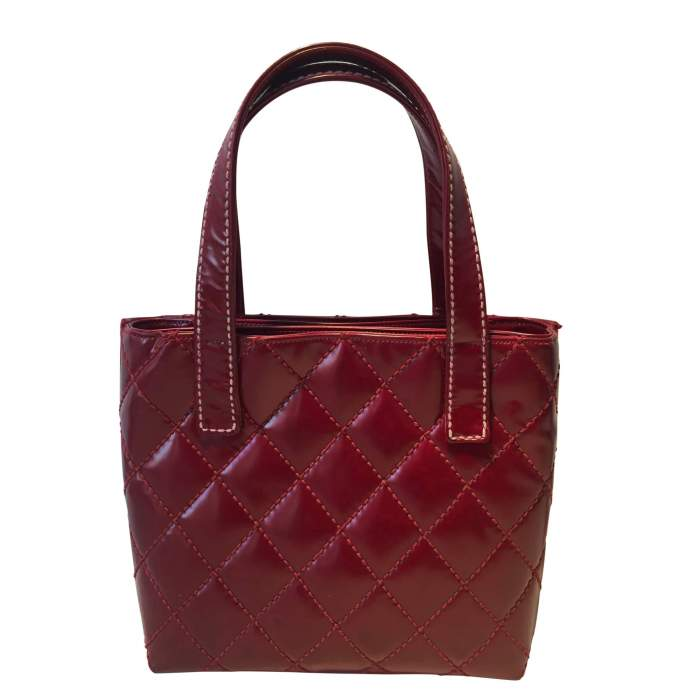 Red quilted vinyl Bag-2