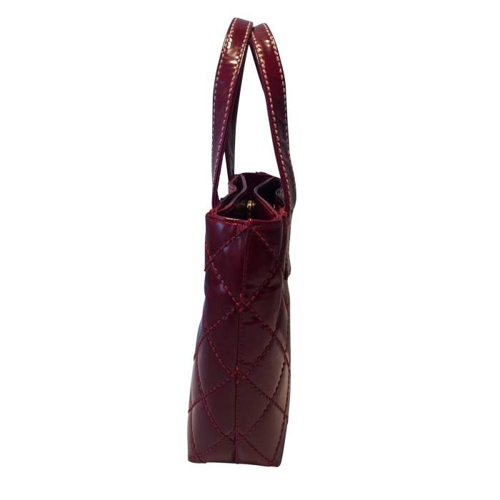 Red quilted vinyl Bag-4