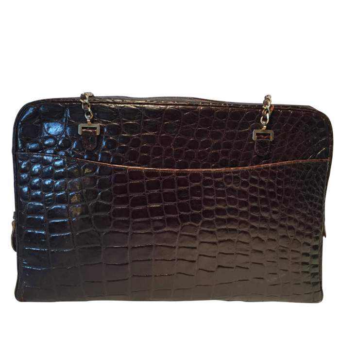 Vintage brown crocodile Briefcase Bag-2