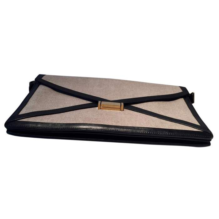 Black leather and beige canvas Clutch-8