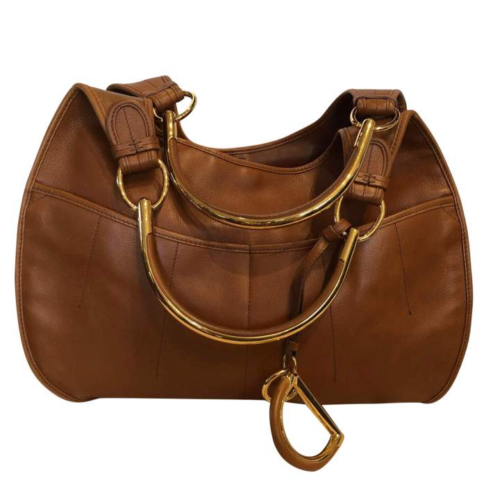Large gold leather Bag -0