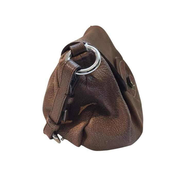 Pink/beige leather Handbag-6