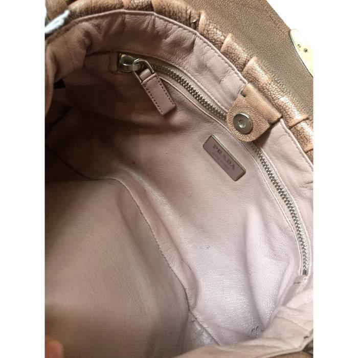 Pink/beige leather Handbag-10