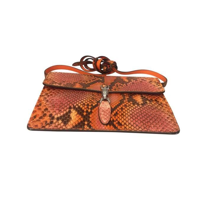 Orange python shoulder Bag-8