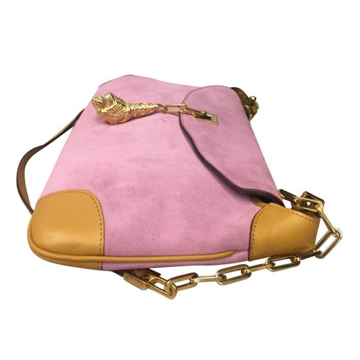 Pink suede shoulder Bag-4