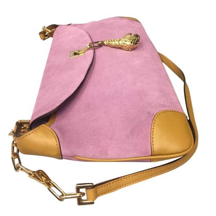 Pink suede shoulder Bag-6