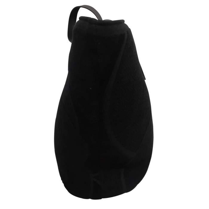 Black leather tote Bag-4