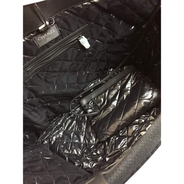 Black leather tote Bag-8