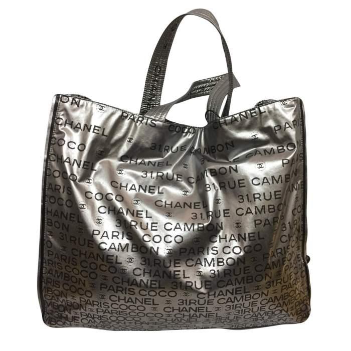 Silver vinyl tote Bag-2