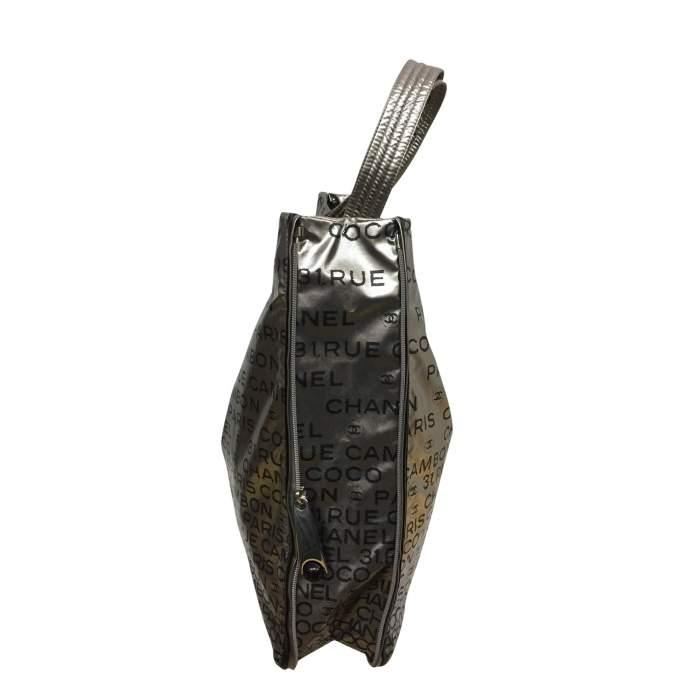 Silver vinyl tote Bag-4