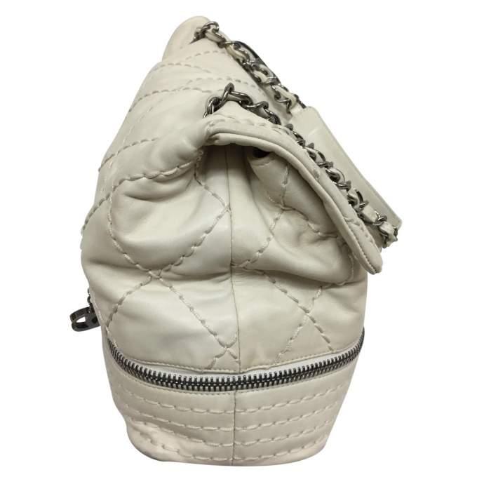 White and silver metal Handbag-4