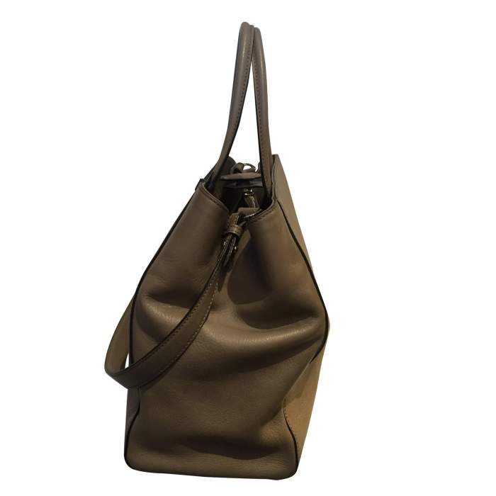 """Always"" taupe leather Handbag-4"
