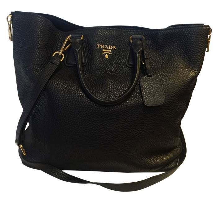 Black leather tote Bag-0