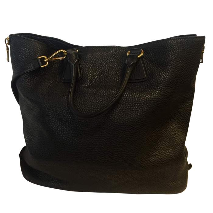 Black leather tote Bag-2