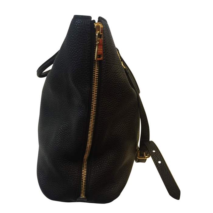 Black leather tote Bag-4