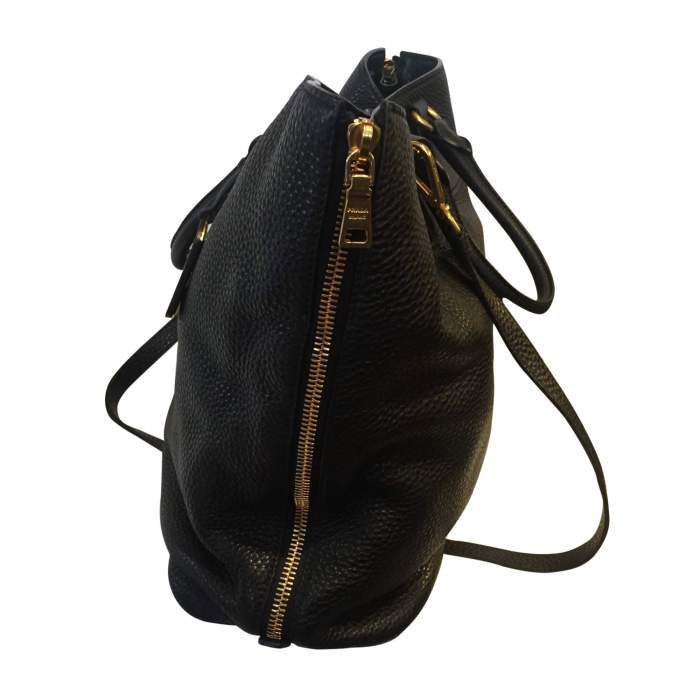 Black leather tote Bag-6