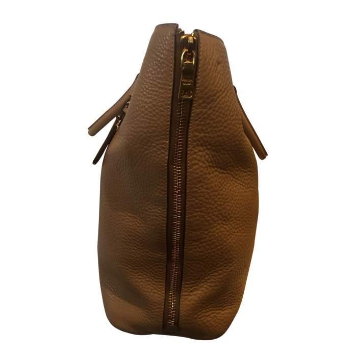 Beige Vitello Daino Expandable Shopper Bag-4