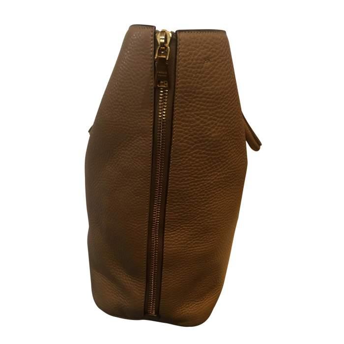 Beige Vitello Daino Expandable Shopper Bag-6