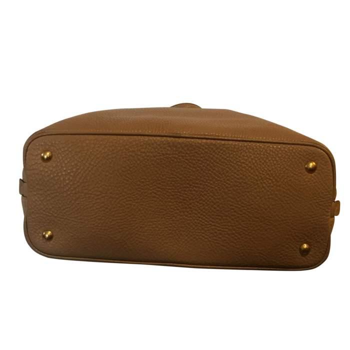 Beige Vitello Daino Expandable Shopper Bag-8