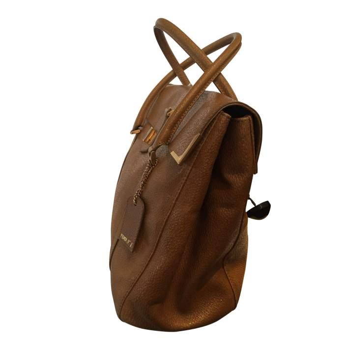 Gold hammered leather Handbag-4