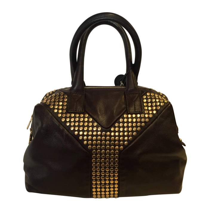 Chocolate studded gold leather Bag-2