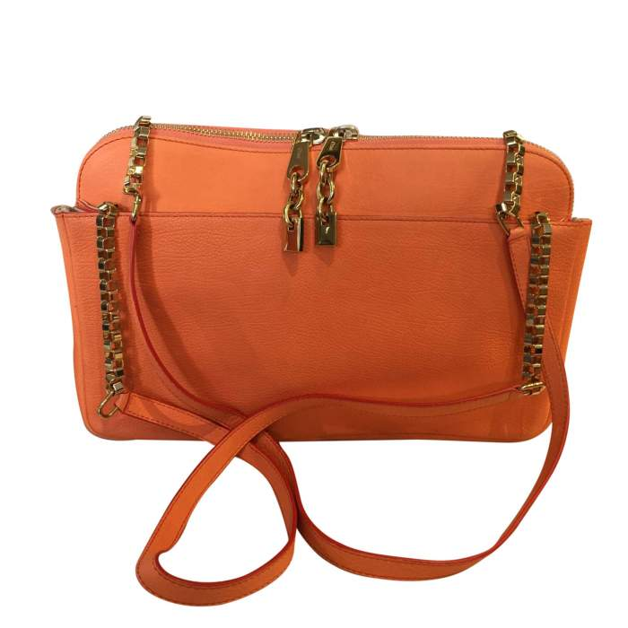 Orange grained leather Bag-0