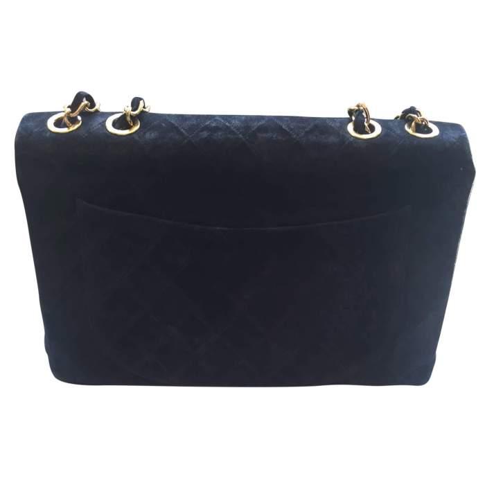 Vintage black suede jumbo Handbag -2