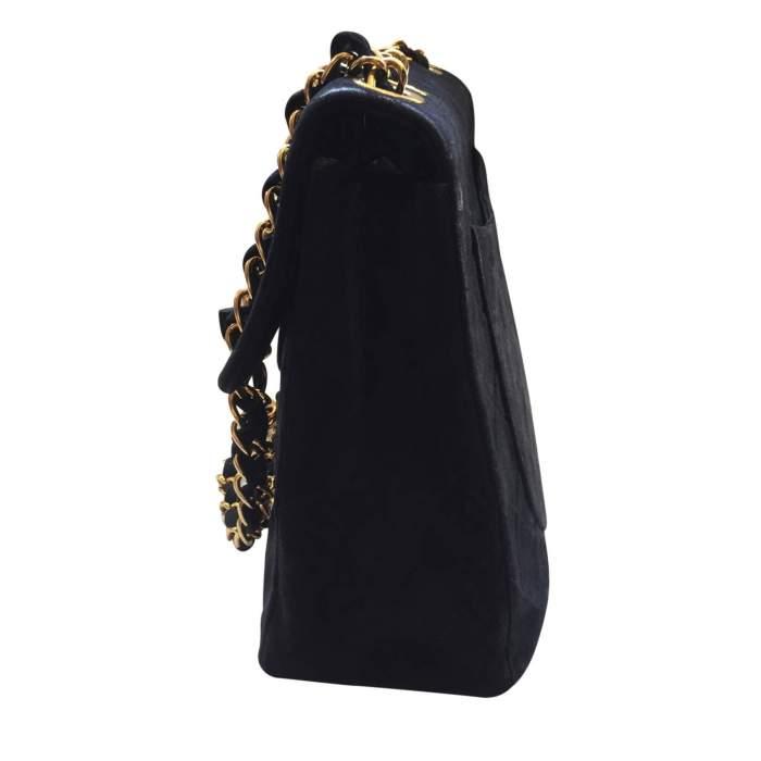 Vintage black suede jumbo Handbag -4