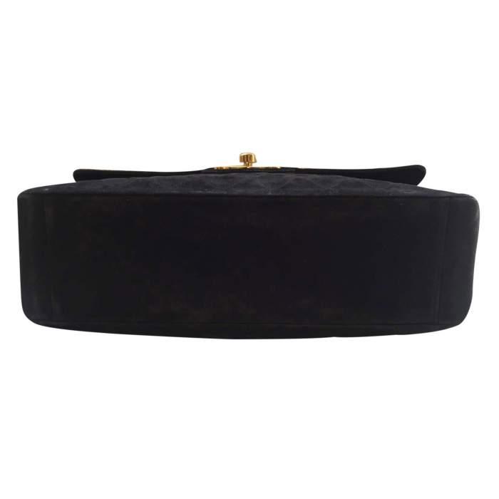 Vintage black suede jumbo Handbag -6