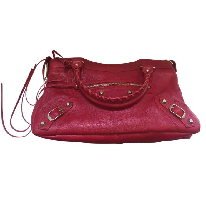 Red grained leather Handbag-4
