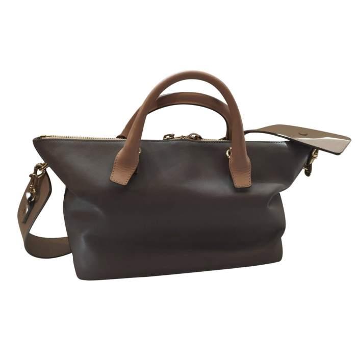 Beige and light gray  leather Handbag -2