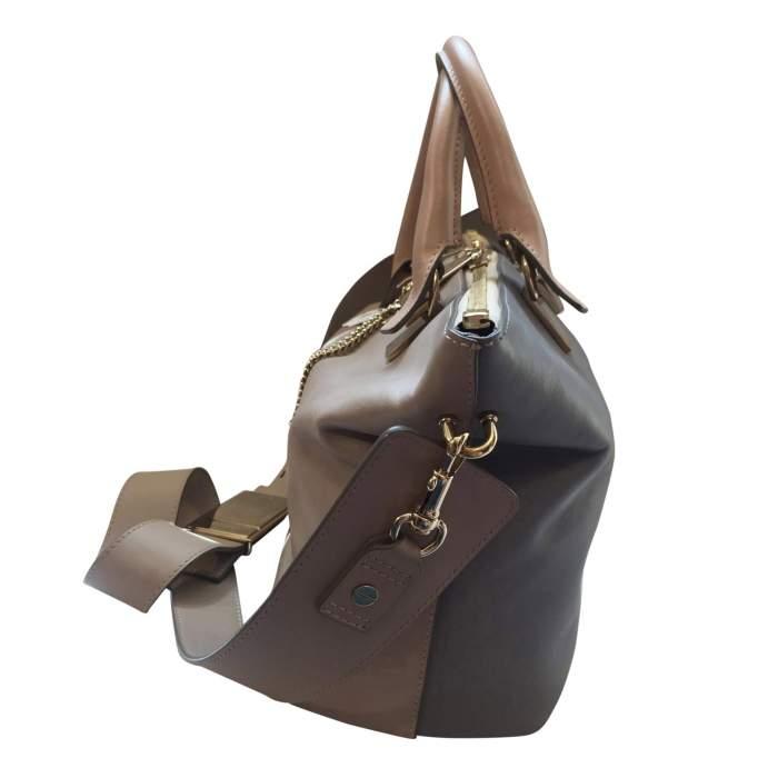 Beige and light gray  leather Handbag -4