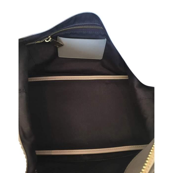 Beige and light gray  leather Handbag -8