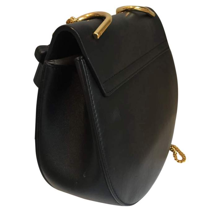 Black leather and suede Handbag-4