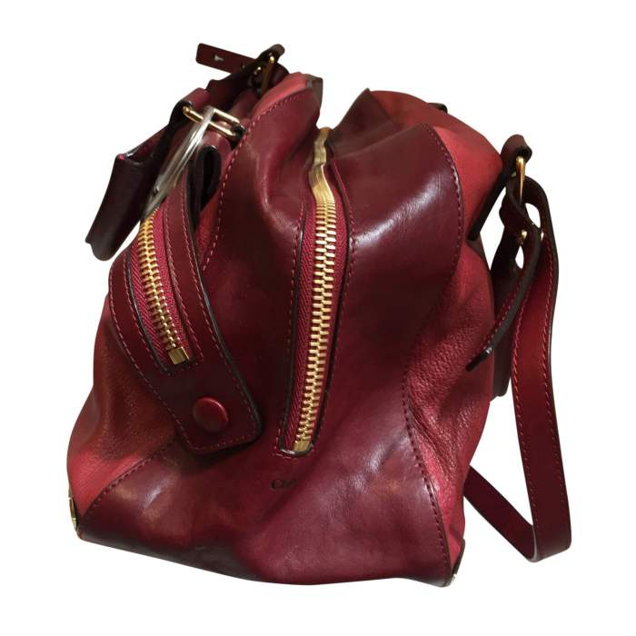 Two-tone red and burgundy leather Handbag -4