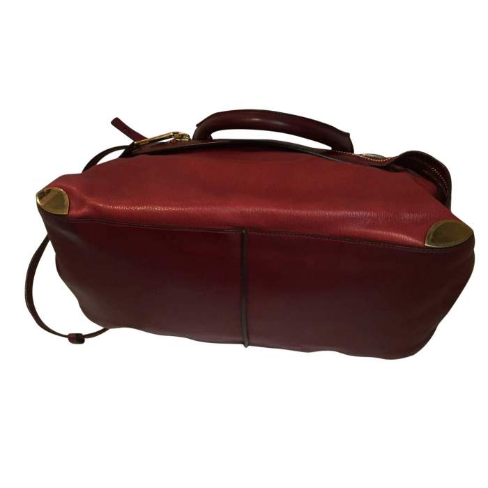 Two-tone red and burgundy leather Handbag -6