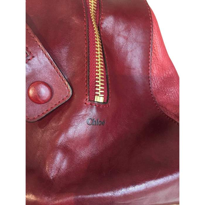 Two-tone red and burgundy leather Handbag -8